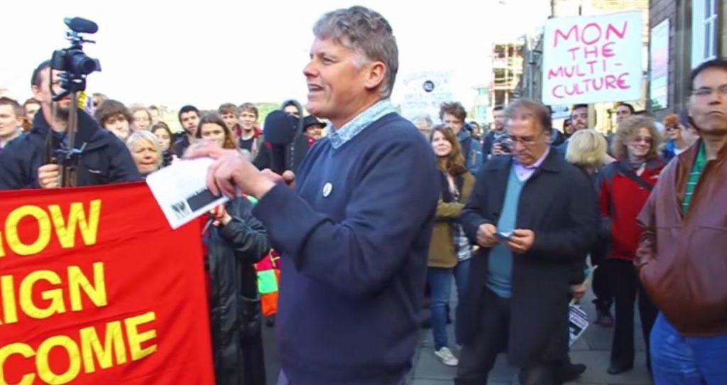 Co-spokesperson Colin Fox speaking at an anti-UKIP rally: Edinburgh, 2014.